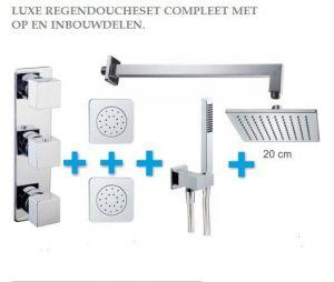 Invbouw regendoucheset met thermostaat en bodyjets