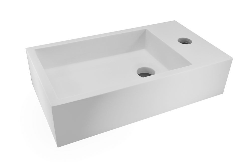 mat wit fontein in solid surface