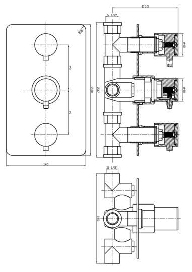 rvs 4weg inbouw douchethermostaat met omstel
