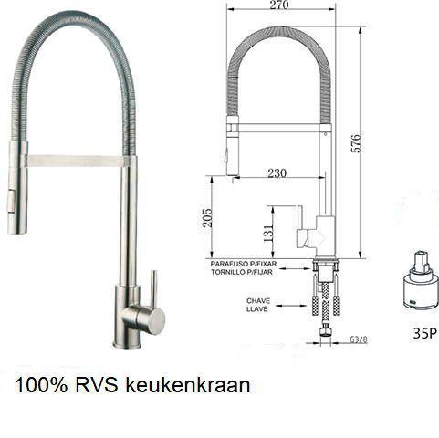 rvs design keukenkraan met sproeikop
