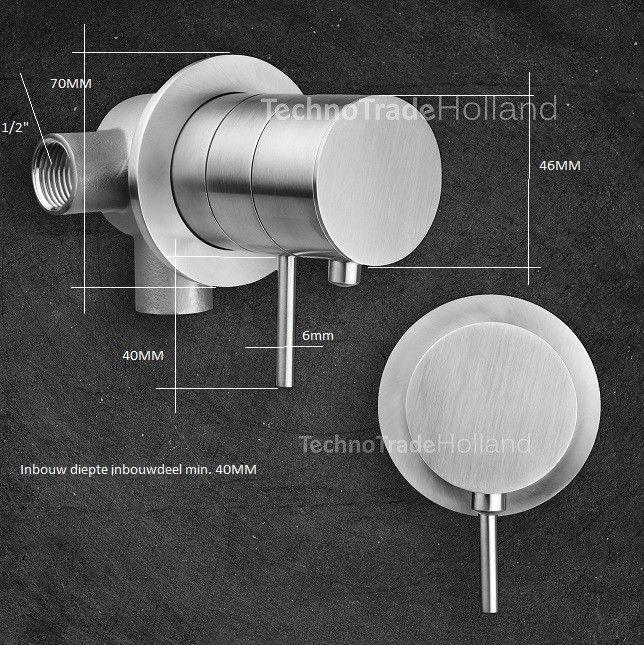 rvs inbouw douchebad thermostaat zonder omstel