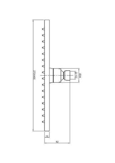 rvs regendouche rechthoek 40 cm x 27 cm dik 6mm