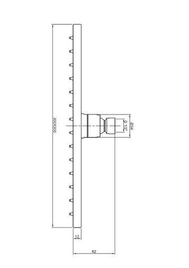 rvs regendouche vierkant 30 cm x 30 cmdik 6mm