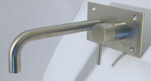 RVS Serie Minimaal: Inbouw wand mengkraan voor bad of wastafel
