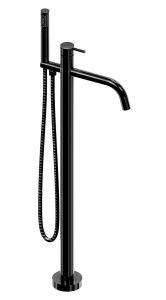 RVS vrijstaande badmengkraan met handdouche - zwart
