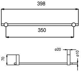 simple line rvs handdoekrek enkel