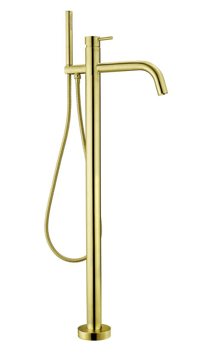 vrijstaande badkraan inc handdouche en doucheslang in de kleur goud